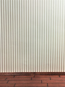 "Dollhouse Miniature MiniGraphics Wallpaper Beige Stripes ""Marusia Stripe"" 1:12"