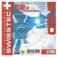 6 Swisstec CD-R Recordable 52x Speed 700mb 80min Blank Discs in Jewel Cases