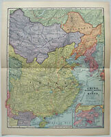 China, Manchuria & Korea - Original 1902 Map by Dodd Mead & Company. Antique