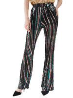 Anna-Kaci Women Sequin Pants Wide Leg High Waist Colorful Disco Party Trousers
