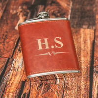 7oz Personalised Steel + PU Brown Leather Effect Hip Flask Free Engraving