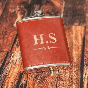 7oz Personalised Steel + PU Brown Leather Effect Hip Flask Custom Engrave