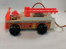 "Vintage 1968 Fisher Price Little People Fire Truck Engine 720 Wood Toy 8"" W/Bell"