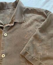 Tommy Bahama Men's XL 100% Silk Textured Floral Shirt Brown Button-Down