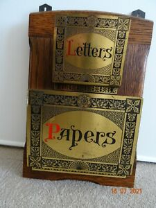 Antique Wall Mounted Edwardian Oak and Brass Letter and Paper Rack