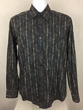 BUGATCHI UOMO Gray & Blue Floral Striped Mens Button Front Shirt - Size M EUC