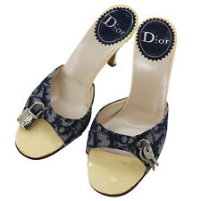 Christian Dior Trotter Heel Sandals Navy 36 1/2 Italy Vintage Authentic #X758 M