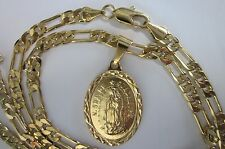Gold filled  Nossa Senhora de Guadalupe pendant & 24 inch 4mm Figaro link chain