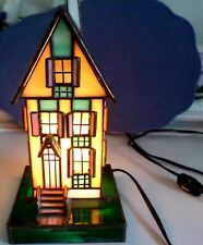 Stained Glass Blue Roof House, Table Lamp/ Night Light SIGNED EX-NM