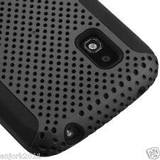 LG Nexus 4 E960 Google Phone Mesh Hybrid Case Skin Cover Gray Black