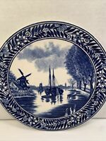 BOCH F LA LOUVIERE PLATE BELGIUM BLUE WINDMILL AND BOATS    8 1/2'' WALL HANGABL
