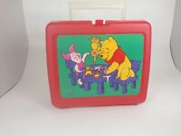 Vintage Disney Winnie The Pooh Thermos Lunchbox Red Plastic Hard Case