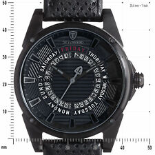 DETOMASO BUSINESS PUNK DT-YG105-B Day&Date Stainless Steel Leather Black New