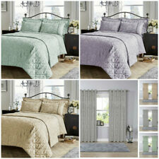 Jacquard Damask Bedding Range, Fully Lined Curtains, Duvet Cover Set, Bedspread