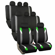 Green and Black Premium Modernistic Auto SUV Seat Covers 3 Row Set