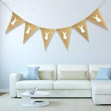 Linen Pennant Bunting Banner Rabbit Easter Triangle String Flag Party Decor CA