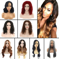 Fashion Wavy Ombre Long Straight Curly Hair Full Wigs Blonde Cosplay Party Wig