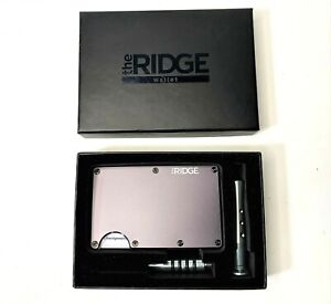 New Ridge RFID Blocking Wallet - Aluminum Gunmetal with Cash Strap - BLACK BOX