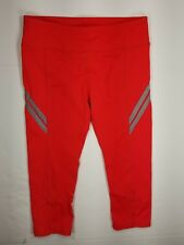 Fabletics Capri Leggings Crops Zip Reflective Hem Sz S Women's Orange