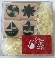 Summer Fun Set Rubber Stamps Sun Pail Boat Ball W372 Close To My Heart 7/8""