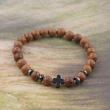 Natural Wooden Beads Bracelet Hematite Chic Cross Men Women Wooden Bracelets
