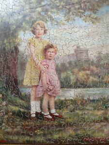 VINTAGE CHAD VALLEY WOODEN JIGSAW PUZZLE - Princesses Elizabeth + Margaret