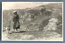 Italia, Taormina, Castel Mola  Vintage silver print. Vintage Italy. Postcard p