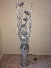 Aluminium Silver Flower Vase Lamp With Handcrafted Porcelain Flowers