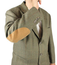 Vintage Elbow Patch Blazer 42R Sage Grayish Green Checked Jacket Sports Coat