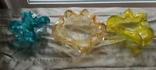 Murano Sommerso Art Glass Gold & Silver Fleck Dish Set