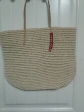 """LARGE 20"""" BEACH BAG Tan Target Straw Looking & Leather Shopper Tote Purse NWT"""
