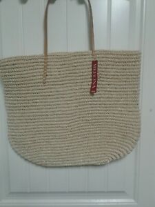 "LARGE 20"" BEACH BAG Tan Target Straw Looking & Leather Shopper Tote Purse NWT"