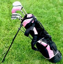 Girls Junior Golf Clubs RAM AXIAL Wood Iron Graphite Jr Flex Pink Golf Stand Bag