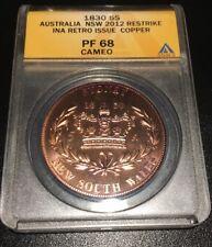 Australia 1830 Copper Proof George IIII 5 Shillings 2012 INA Pattern ANACS PF 68