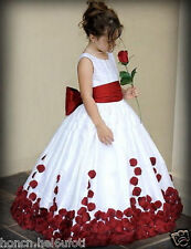 Red And White Bow Knot Rose Satin Ball Gown Wedding Flower Girl Dresses Crew DRE