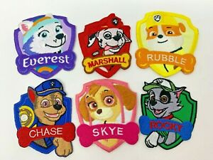 Paw patrol Kids children Embroidered Iron On Sew On Patches Badges 6 different