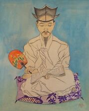 Very Fine Korean MinHwa Folk Hand Painting Yangban Nobleman Holding a Fan