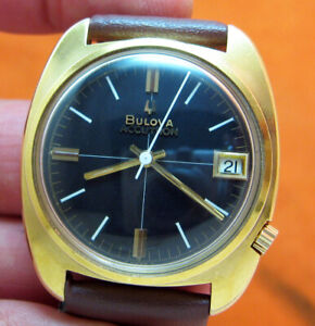 SERVICED 2181 ACCUTRON BULOVA GOLD ELECTROPLATE TUNING FORK MEN'S WATCH M9