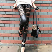 Black Woman Faux Leather Lace Up Punk Gothic Cluewear Leggings Tight Pants UK