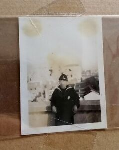 1937 Photo showing Naval Soldier in front of Shanghai Sihang Warehouse上海四行仓库旧照