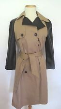 ZARA Tan Black Solid  Long Sleeve  Raincoat  Coat jacket Size  M.