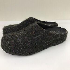 FitFlop Shuv Felt Wool Clogs Slip On Micro Wobble Board Women's 9 Charcoal Gray
