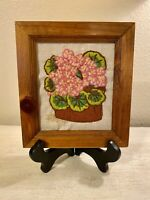 Vintage Handmade Embroidery Floral Basket Picture in Wood Frame Circa 1960s