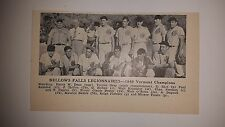 Bellows Falls Legionnaires Vermont 1949 Baseball Team Picture