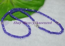 Fine 2x4mm Amethyst Faceted Rondelle Gems Beads Necklace Silver Clasp AAA