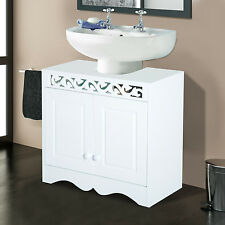 HOMCOM Sink Cabinet Basin Bathroom Cupboard Shelf Storage Unit Furniture White