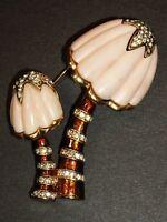 Vintage Hattie Carnegie MUSHROOM Pin Brooch Angel Skin Coral Lucite Enamel & RS