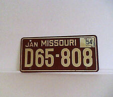 Vintage 1954 Missouri Mini Replica License Plate promo quaker oats