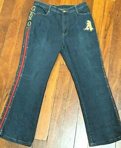 SHY GER Relaxed Fit Bootcut Red Side Stripe Embo Jeans Size XXL Actual W32 L27