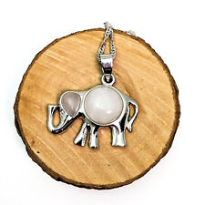 Pink Quartz  Elephant Silver Plated Pendant On Silver Plated Necklace